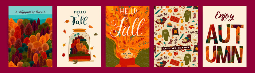 Set of cute autumn illustrations. Vector templates for card, poster, flyer, cover and other use. Wall mural