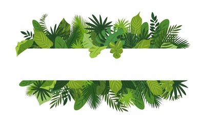 Tropical leafs concept banner. Cartoon illustration of tropical leafs vector concept banner for web design