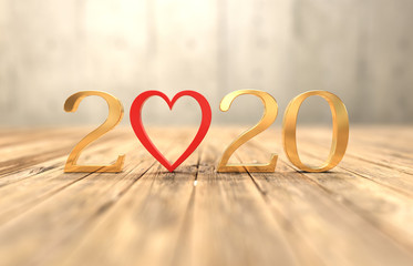 New Year 2020 Creative Design Concept with Heart Symbol- 3D Rendered Image