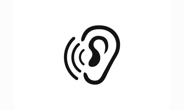 Hearing, ear love logo icon vector template