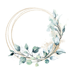 Fototapeta Leaves gold frame wreath border. Watercolor hand painting floral geometric background. Leaf, plant, branch isolated on white background. obraz