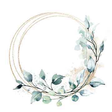Leaves gold frame wreath border. Watercolor hand painting floral geometric background. Leaf, plant, branch isolated on white background.