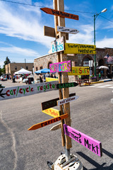 Handmade painted wooden signs for street fair