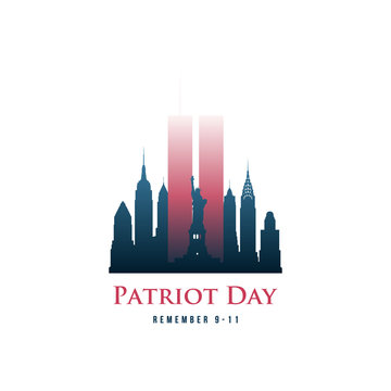 Patriot Day card with Twin Towers and phrase Remember 9-11. September 11, 2001. World Trade Center. Vector design template.