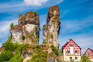Burgfels und Felsendorf Tüchersfeld in der Fränkischen Schweiz, Bayern