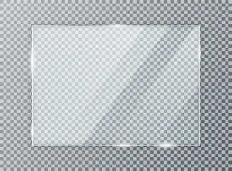 Glass plate on transparent background. Acrylic and glass texture with glares and light. Realistic transparent glass window in rectangle frame Fototapete