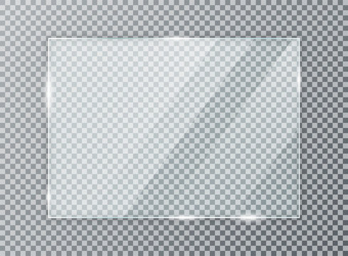 Glass plate on transparent background. Acrylic and glass texture with glares and light. Realistic transparent glass window in rectangle frame