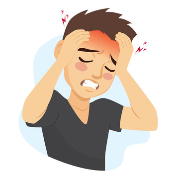 Young man suffering migraine headache problem holding head with hands