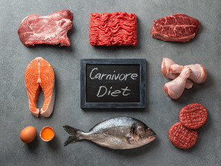 Carnivore diet concept. Raw ingredients for zero carb diet - meat, poultry, fish, seafood, eggs, beef bones for bone broth and words Carnivore Diet on gray stone background. Top view or flat lay. Wall mural