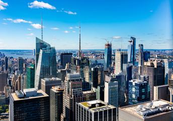 Aerial  view Manhattan  skyscrapers in  New York.