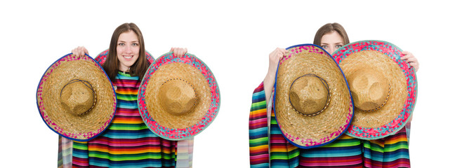 Pretty mexican girl in vivid poncho isolated on white Wall mural