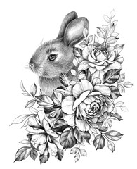 Little Hare with Roses Bunch