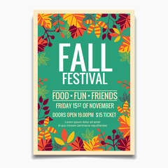 Fall Festival flyer or poster template. Design for Invitation or Autumn Season Holiday Celebration Poster