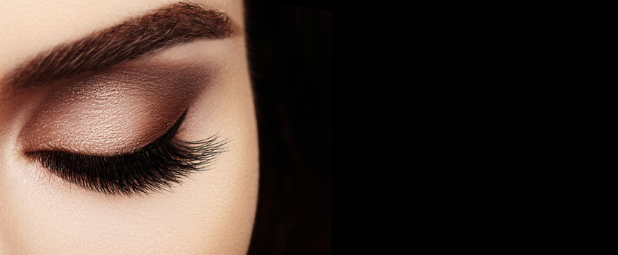 Beautiful Macro Female Eye with Extreme Long Eyelashes and Celebrate Makeup. Perfect Shape Make-up, Fashion Long Lashes