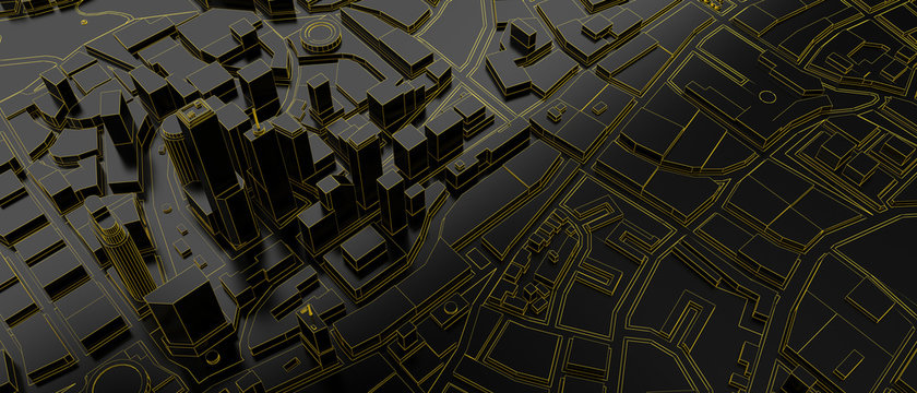black low poly city above view