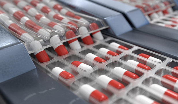 Red and white capsules in pharmaceutical production line. 3D ren