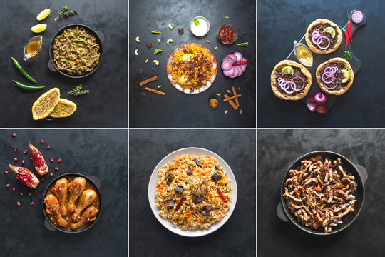 Collage with meat dishes of the world cuisine.