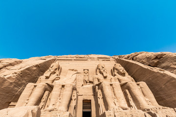 Abu Simbel temple, a magnificent landmark built by pharaoh Ramesses the Great, Egypt