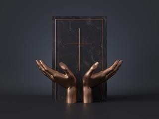 3d render, golden mannequin hands isolated on black background, black marble board, gravestone, golden catholic cross, religious book, spiritual concept, luxury minimal mockup, simple clean design