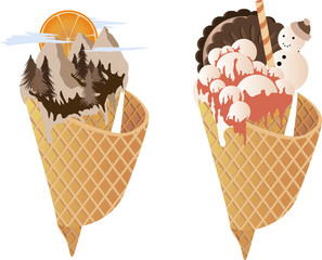 Vector image of ice cream. Conceptual image of our world in horns