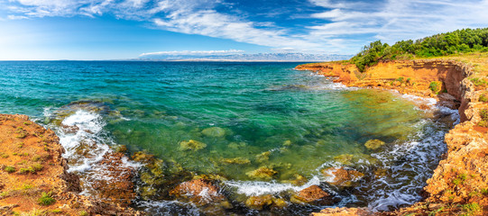 Autocollant pour porte Ile Panorama view of sea from the Vir island in the Zadar County of Croatia, Europe.