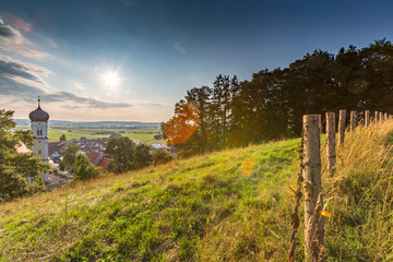 Germany, Bavaria, Allgaeu, Mindelheim, rural scene with church Fotoväggar