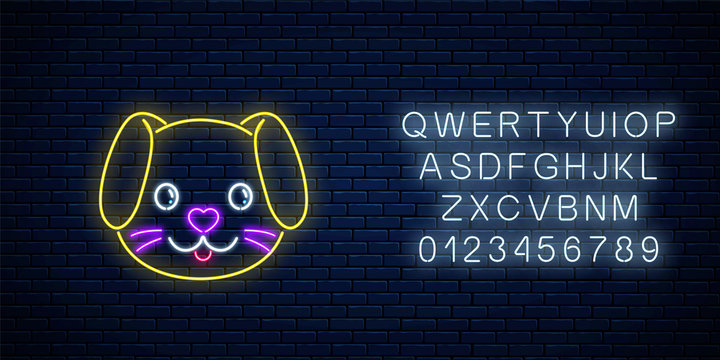 Glowing neon sign of cute dog in kawaii style with alphabet. Cartoon happy smiling puppy in neon style.