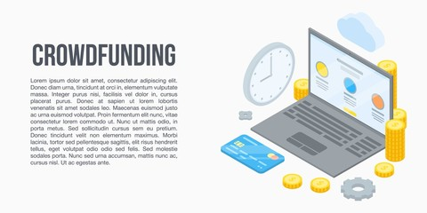 Crowdfunding concept banner. Isometric illustration of crowdfunding vector concept banner for web design