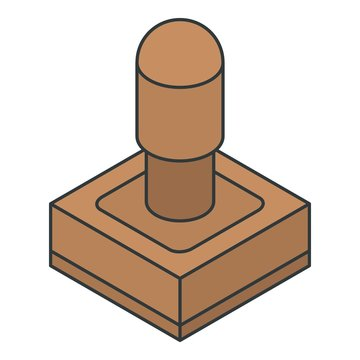Wood stamp icon. Isometric of wood stamp vector icon for web design isolated on white background