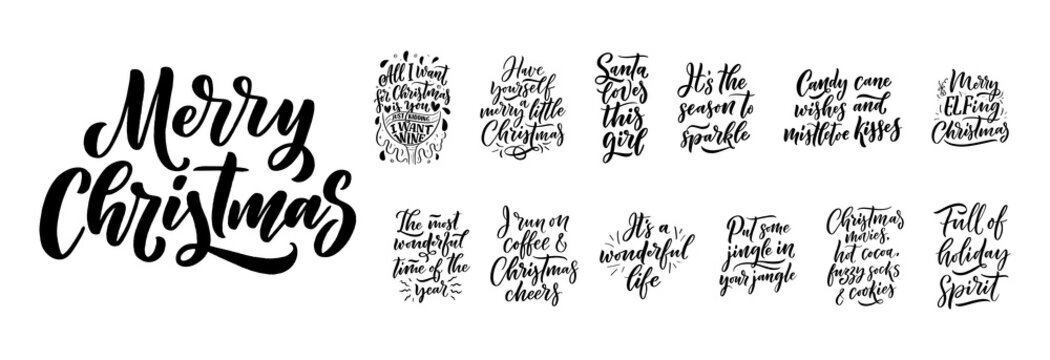 Christmas quotes. Winter xmas slogans. Hand drawn Calligraphic lettering. Inspirational text for invitation design. Vector