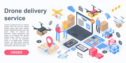 City drone delivery service concept banner. Isometric illustration of city drone delivery service vector concept banner for web design
