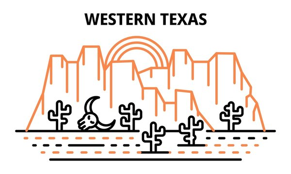 Western Texas banner. Outline illustration of western Texas vector banner for web design