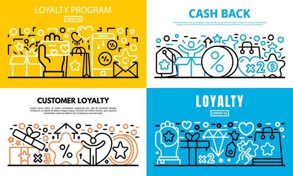 Loyalty program reward banner set. Outline set of loyalty program reward vector banner for web design