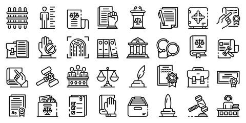 Legislation icons set. Outline set of legislation vector icons for web design isolated on white background