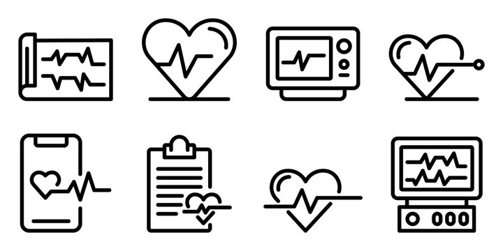 Electrocardiogram icons set. Outline set of electrocardiogram vector icons for web design isolated on white background