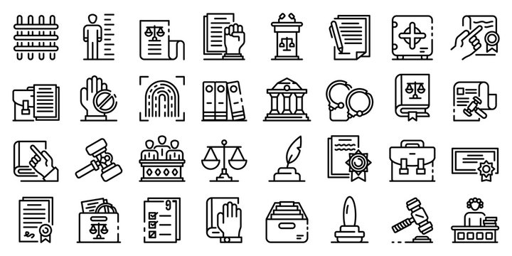 Legislation icons set. Outline set of legislation vector icons for web design isolated on white background