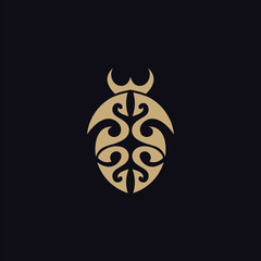beetle with tribal tattoo logo vector design template