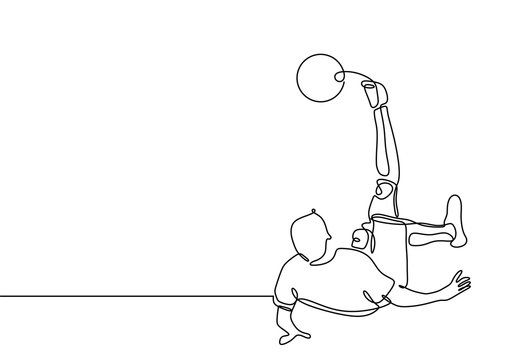 Football soccer player kick a ball continuous one line drawing minimalist design sport theme