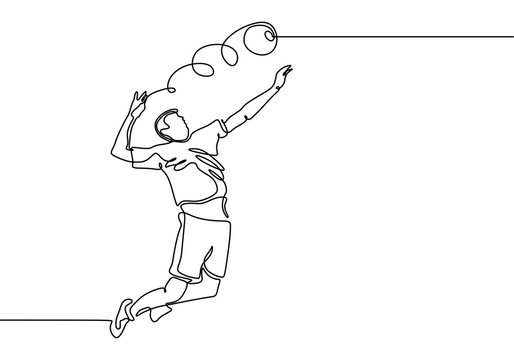 Continuous line drawing of volley sport player minimalist design