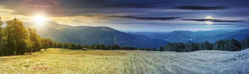panoramic mountain landscape day and night time change concept. grassy meadow on the hillside. trees on the edge of a hill. mountain ridge in the distance. sun and moon on the sky