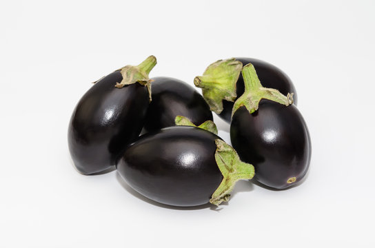Mini aubergine vegetable isolated on white background
