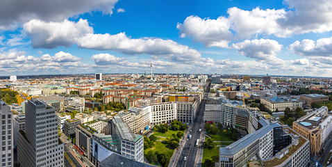 Panoramic aerial view of Berlin city center, Germany. Skyline view of Berlin downtown from skyscraper on Potsdamer Platz