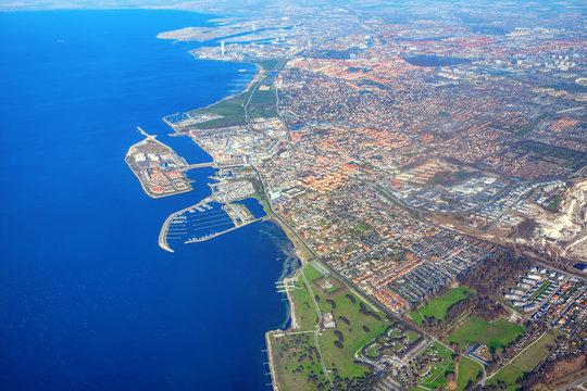 Swedish coast , aerial view of malmo city
