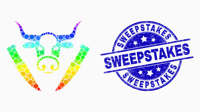 Pixelated spectrum cow butchery mosaic pictogram and Sweepstakes seal stamp. Blue vector round distress watermark with Sweepstakes caption. Vector composition in flat style.
