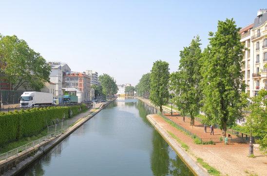 Canal Saint Martin cityscape Paris France
