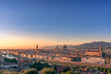 Aluminium Prints Florence Cathedral of Santa Maria del Fiore and Florence rooftops with mountains