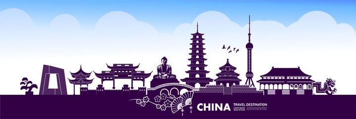 Fotomurales - China travel destination grand vector illustration.