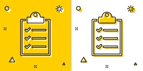 Fototapeta Black Clipboard with checklist icon isolated on yellow and white background. Random dynamic shapes. Vector Illustration