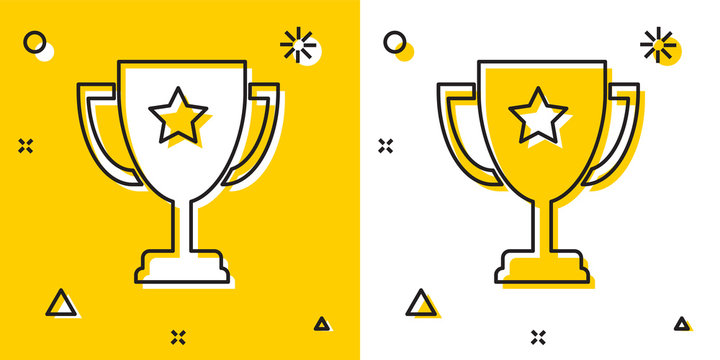 Black Trophy cup icon isolated on yellow and white background. Award symbol. Champion cup icon. Random dynamic shapes. Vector Illustration