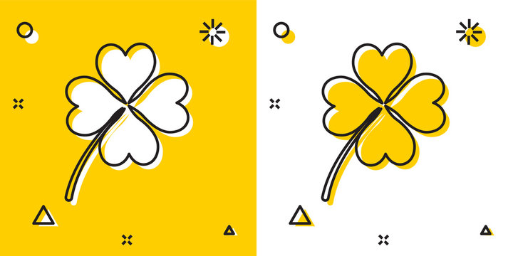Black Four leaf clover icon isolated on yellow and white background. Happy Saint Patrick day. Random dynamic shapes. Vector Illustration